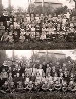 2 Cartes Photos Originales Scolaire - Groupe D'écoliers Mixtes à 2 Niveaux De Classe Avec Bonne-Soeur Vers 1940/50 - Personas Anónimos