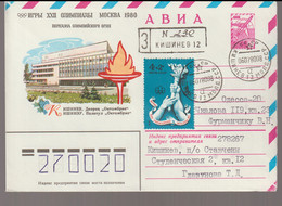 Soviet Registered Upfranked Postal Stationary 1980 Moscow Olympic Games - Torch Relay Posted Chişinău Kisinev 1980 - Sommer 1980: Moskau