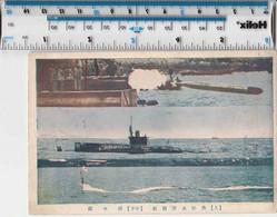 ORIGINAL WW2 POSTCARD - JAPANESE 3-VIEW POSTCARD- TORPEDO, SURFACE AND DIVING - Guerra 1939-45