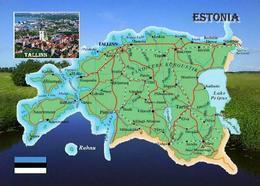 Estonia Country Map New Postcard Estland Landkarte AK - Estonia