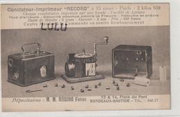 """DEPT 33 : Constateur-imprimeur """" RECORD """" M M Rubino Frères 12 & 14 Place Du Pont Bordeaux Bastide - Bordeaux"""
