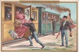"""Chromo """"Liebig"""" Train -Gare -Voyageurs / Les Plaisirs Du Départ - Liebig"""