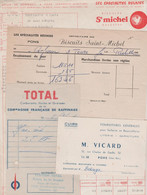 17 PONS 4 DOCUMENTS BISCUITS SAINT MICHEL VICARD SELLERIE BOURRELLERIE STATION TOTAL - 1900 – 1949