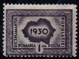 Romania 1930, Scott 380, MNH, First Census, Map - Neufs