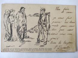 Cpa, Carte Primaire, Illustrateur Signé Couturier, L'armée Sert De Frontière Permanente Entre La Patrie Du Riche Et La - Otros Ilustradores