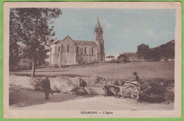 Rare CPA GOURDAN Eglise Animé Attelage  31 Haute Garonne - Altri Comuni