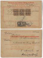 Brazil 1919 Money Order From Ilheus To Bahia Vale Postal 10,000 X3 Reis Stamp - Cartas