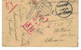 Gembloux => Wittlich 1916. Prisonnier Pau Debroux. Fernand Clabecq De Court-Saint-Etienne (tué En Avril 1917 à Lorcher) - Otros