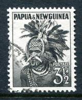 Papua New Guinea 1952-58 Pictorial Definitives - 3½d Papuan Headdress Used (SG 6a) - Papua Nuova Guinea