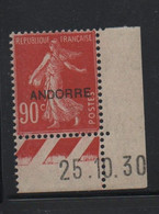 ANDORRE FRANCAIS N° 12 ** SEMEUSE - Cote 85,50 € - Unused Stamps