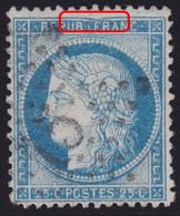 N°60C Variété Suarnet 15, Affaissement Du Filet Et Du Cadre Au Dessus De F De Franc, TB - 1871-1875 Ceres