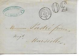 Ferroviaire Bordeaux Gironde Ambulant BORDEAUX à CETTE Brigade C + Taxe Tampon 30   1859 ..G - Railway Post