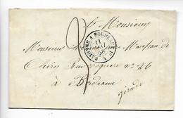 Ferroviaire Ambulant BAYONNE à BORDEAUX 1° Brigade A + Taxe Manuscrite 3   1858  ..G - Railway Post