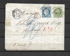 Lettre Oblitération Ambulant Belfort A Paris Avec Taxe Mulhausen Dos Belle Frappe Voir Scan - 1849-1876: Periodo Classico