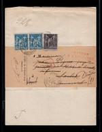 Retour à L'envoyeur Rouge Sur Recommandé De Greffe Avec Affranchissement Sage YV 90 (paire) + 89 Piquage Bas De Feuille - 1876-1898 Sage (Type II)