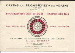 88 - Vosges - Plombières - Progammes Casino - 1966 - Reclame