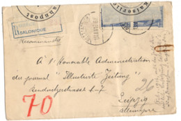 GRECE PAIRE YT N°198 0BLITERE SUR LETTRE RECOMMANDEE DE SALONIQUE POUR LEIPZIG CENSURE BRESLAU - Storia Postale