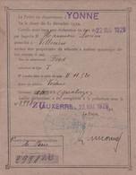 """89 YONNE-RECEPISSE De DECLARATION De CIRCULATION Des AUTOMOBILES-""""FORD T-1929""""-Timbre DIMENSION BLEU 3F60 - Voitures"""