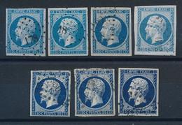 DX-415: FRANCE: Lot Avec N°14A Obl Pour étude De Teinte - 1853-1860 Napoleon III