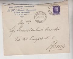 ARPINO FROSINONE STORIA POSTALE 1933 BUSTA ARCIPRETURA E COLLEGIATA CIVITA FALCONIERA - Marcofilía