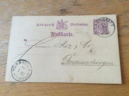 K15 Württemberg Ganzsache Stationery Entier Postal P 26a Mit Zudruck Von Cannstatt Nach Donaueschingen - Wurttemberg