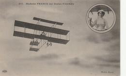 Femme Aviatrice Pilote Mme Mathilde Franck Sur Son Aéroplane Biplan Farman - Airmen, Fliers