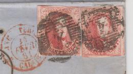 LETTRE BELGIQUE. 23 FEVR 1861. 2 X 40c. DAVID VERBIST & C° ANVERS POUR PARIS. PD ANGLETERRE CALAIS - Ohne Zuordnung