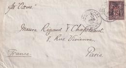 CHINE - Lettre De Shanghai Affranchie 25 Cts Type Sage France 27/4/1896 Pour Paris - Via Oxus Voir Scan - Cartas
