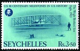 Seychelles 1976 Bicentenary USA Bicentenaire Wright Flyer I  Kitty Hawk 1903 - Aerei