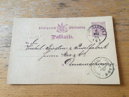 K15 Württemberg Ganzsache Stationery Entier Postal P 26a Von Stuttgart Nach Donaueschingen - Wurttemberg