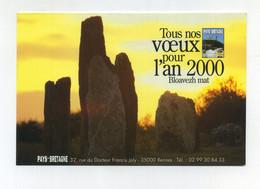 Tous Nos Voeux Pour L'An 2000. Bloavezh Mat. Pays Bretagne. Breizh. Pierres Levées, Lande Bretonne, Soleil Couchant - Advertising