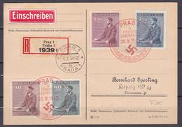 Böhmen Und Mähren - 1942 - Ersttagssonderstempel - Michel Nr. 85/88 - Einschreiben Prag Nach Leipzig Mit Ankuftsstempel - FDC