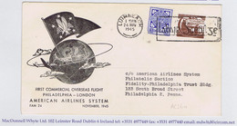 Ireland Airmail 1945 First Flight Shannon To Philadelphia By American Airlines Printed Cover LUIMNEACH 24 NOV 1945 - Airmail