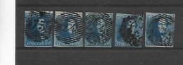 België N° 2  (5 Zegels) Kleur - 1849 Epaulettes