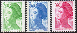 France Liberté De Gandon N° 2484 à 2486 **  Les 3 Valeurs Les 2f00, 3f60 Et 3f70 Vert, Bleu, Rose - 1982-90 Liberty Of Gandon