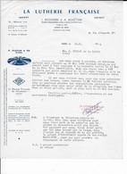 """Facture 1966 """"La Lutherie Française"""" Paris, Matériel Et Accessoires De Musique, Illustration Cymbale Zildjian - Istanbul - Musical Instruments"""