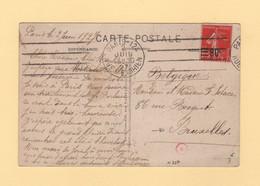 Type Semeuse - N°227 Seul Sur Carte Postale Destination Belgique - 1927 - 1877-1920: Semi-Moderne