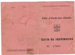 Luxembourg Carte De Légitimation.Ville De Esch/sur/Alzette. - Plaatfouten & Curiosa