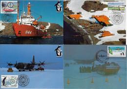 Brazil 1987 / 2007 Complete Series 3 + 1 Maximum Card International Polar Year Station Research Ship Airplane Penguin - Basi Scientifiche