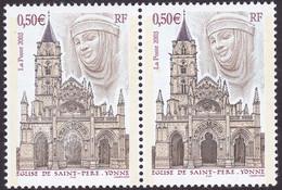 3586, Eglise De Saint Pierre, Paire, Portail Central Défoncé Tenant A Normal, Neuf, Signé Calvès - Variétés: 2000-09 Neufs