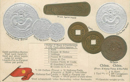 "CPA ARGENT MONNAIE "" China"" / Carte En Relief - Coins (pictures)"