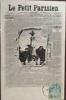 Cpa De 1906, Journaux . - Journal Crevé LE PETIT PARISIEN. - Le Monument De Gambetta, éd DP Lyon, Timbre - Publicité