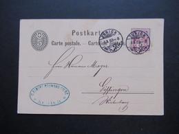 Schweiz 1883 Nr. 52 Als Zusatzfrankatur Auslandskarte Zürich - Göppingen Mit Ank. Stempel K1 Goeppingen - Covers & Documents