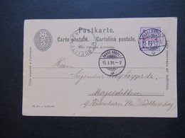 Schweiz 1891 Nr. 52 Als Zusatzfrankatur Auslandskarte Davos Dörfli - Mergelstetten Mit K1 Ank. Stempel - Covers & Documents