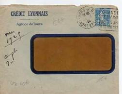 F 16  192...  Lettre Entete Crédit Lyonnais à   Tours      Irabat Absent - 1921-1960: Modern Tijdperk