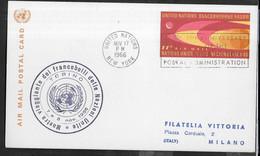 """O.N.U. - ANNULLO """"MOSTRA VIAGGIANTE DEI FRANCOBOLLI DELL NAZIONI UNITE"""" NOV. 17,1966 SU CARTOLINA POSTALE AIRMAIL - Cartas"""