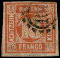 ALL.  BAVIERE Poste O - 14a, Vermillon, Belles Marges (pelurages) - Cote: 550 - Bayern (Baviera)
