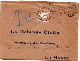 LOIR Et CHER - Dépt N° 41 =  VENDOME 1932 = TAXE + FLAMME DAGUIN ' SITES & MONUMENTS' + PUB FYFFES BANANES - Strafportbrieven