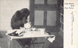 SIERRA LEONE - Lady Sassa (Chimpanzee) - Tea Time - Publ. Lisk-Carew Brothers - Sierra Leone
