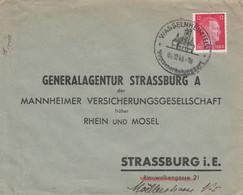 Env Affr Michel 788 Obl WASSELNHEIM (ELS) Du 4.12.43 Adressée à Strassburg Vogesenerholungsort - Alsace Lorraine